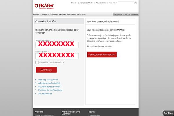 Formulaire de connexion au compte Mcafee