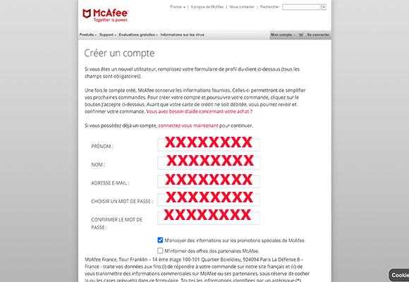 Formulaire d'inscription au compte Mcafee